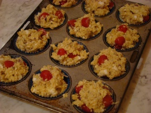 Tomato and cheese muffin mixture